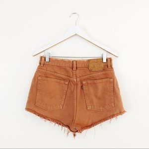 Levi's Burnt Orange Cut Off Distressed Shorts 512